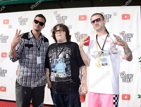 """From left to right, actor Simon Rex, actor Andy Milonakis, and Riff Raff of the rap trio """"Three Loco"""" arrive at YouTube Comedy Week's """"The Big Live Comedy Show"""" at The Culver Studios on in Culver City, Calif"""