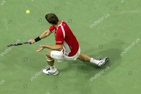 Marco Chiudinelli of Switzerland in action during the second match of the Davis Cup world group playoffs between Switzerland and Belarus at the Swiss Tennis Arena in Biel, Switzerland, 15 September 2017.