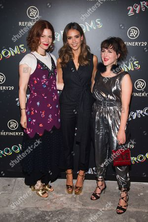 "Christene Barberich, left, Jessica Alba and Piera Gelardi attend Refinery29's ""29Rooms: Powered by People"" opening night, in New York"