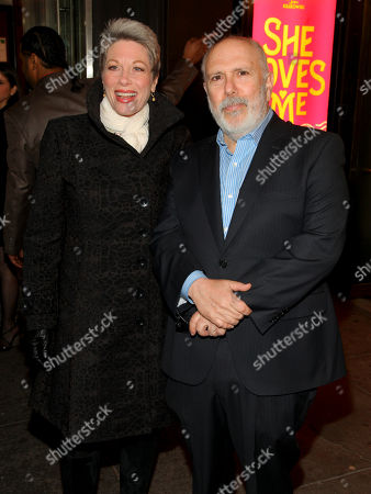 """Marin Mazzie, left, and Lee Wilkof, right, attend the Broadway opening night of """"She Loves Me"""" at Studio 54, in New York"""