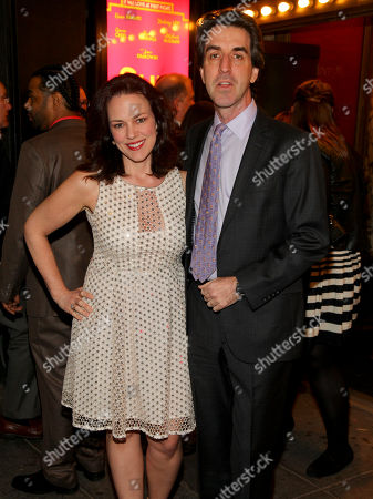 "Georgia Stitt, left, and Jason Robert Brown, right, attend the Broadway opening night of ""She Loves Me"" at Studio 54, in New York"