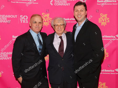 "Scott Ellis, from left, Sheldon Harnick and Warren Carlyle attend the Broadway opening night of ""She Loves Me"" at Studio 54, in New York"