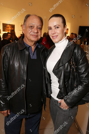 Cheech Marin and Natasha Rubin seen at 'The Book of Life' - An Exhibit of the art inspired by the upcoming film, on Monday, Feb, 24, 2014 in Beverly Hills