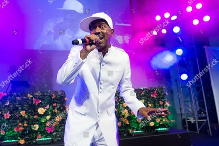 Rapper Kurtis Blow performs on stage at the Rush Philanthropic Arts Foundation's 15th Annual Art for Life Benefit at Fairview Farms in Water Mill, in New York