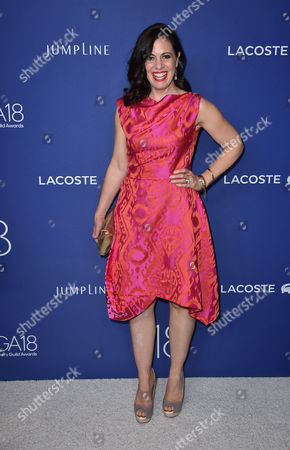 Stock Image of Jacqueline Mazarella arrives at the 18th annual Costume Designers Guild Awards at the Beverly Hilton hotel, in Beverly Hills, Calif