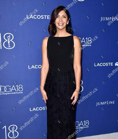 Johanna Argan arrives at the 18th annual Costume Designers Guild Awards at the Beverly Hilton hotel, in Beverly Hills, Calif