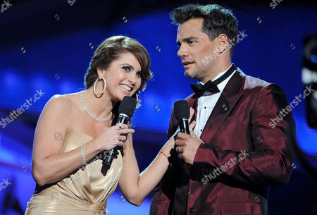Hosts Lucero, left, and Cristian de la Fuente are seen on stage at the 13th Annual Latin Grammy Awards at Mandalay Bay, in Las Vegas