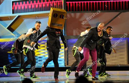 Skyblu, right, of LMFAO, perform at the 13th Annual Latin Grammy Awards at Mandalay Bay, in Las Vegas