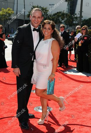 SEPTEMBER 15: Marissa Jaret Winokur and husband Judah Miller (L) arrive at the Academy of Television Arts & Sciences 64th Primetime Creative Arts Emmy Awards at Nokia Theatre L.A. Live on in Los Angeles, California