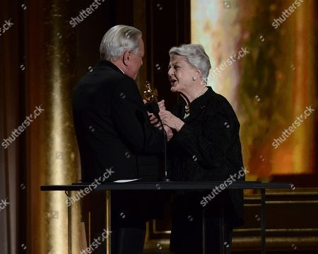 Actress and honoree Angela Lansbury, right, and Oscar historian Robert Osborne at the 2013 Governors Awards on in Los Angeles