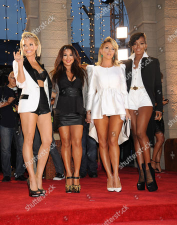 Stock Image of From left, Shannon Bex, Andrea Fimbres, Aubrey O'Day and Dawn Richards of Danity Kane arrive at the MTV Video Music Awards, at the Barclays Center in the Brooklyn borough of New York