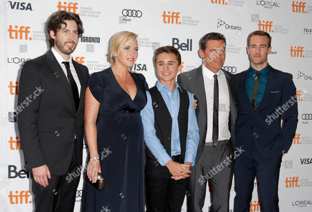 "From left, Jason Reitman, Kate Winslet, Gattlin Griffith, Josh Brolin and James Van Der Beek arrive at the premiere of ""Labor Day"" on day 3 of the Toronto International Film Festival at the Ryerson Theatre, in Toronto"