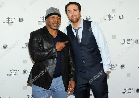 """Retired professional boxer Mike Tyson and director Bert Marcus attend the """"Champs"""" Tribeca Talks after screening event, during the 2014 Tribeca Film Festival, at the SVA Theatre on in New York"""