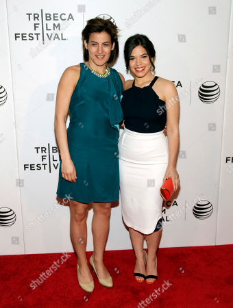 """Stock Photo of Director of Programming for the Tribeca Film Festival Genna Terranova, left, and actress America Ferrera, right, attend the world premiere of """"X/Y"""" at the 2014 Tribeca Film Festival, in New York"""
