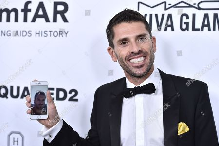 Stock Image of Joel Simkhai, founder and CEO of Grindr arrives at the amfAR Inspiration Gala at Milk Studios, in Los Angeles