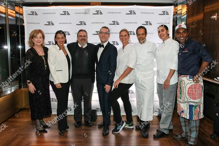 JBF President Susan Ungaro, Mixologist Julie Reiner, JBF Award Winning-Drinks Historian David Wondrich, Honorary Chair Ted Allen, Chef Amanda Freitag, Chef Thierry Delourneaux, Chef Ghaya Oliveira, Chef Marcus Samuelsson seen at the New York, New York: 2015 James Beard Foundation Gala at the Rainbow Room on in New York