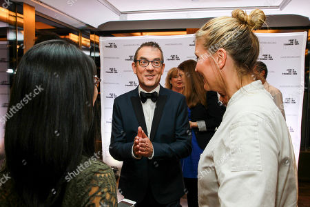 Honorary Chair Ted Allen speaks with chef Amanda Freitag seen at the New York, New York: 2015 James Beard Foundation Gala at the Rainbow Room on in New York