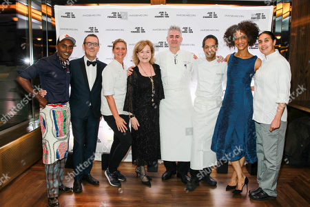 Chef Marcus Samuelsson, Honorary Chair Ted Allen, Chef Amanda Freitag, JBF President Susan Ungaro, Chef Jonathan Wright, Chef Thierry Delourneaux, Honorary Chair Carla Hall, Chef Ghaya Oliveira seen at the New York, New York: 2015 James Beard Foundation Gala at the Rainbow Room on in New York