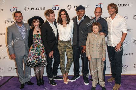From left, Chris O'Donnell, Renee Felice Smith, Barrett Foa, Daniela Ruah, LL Cool J, Miguel Ferrer, Linda Hunt, and Eric Christian Olsen attend the at 2015 PaleyFest Fall TV Previews at The Paley Center for Media, in Beverly Hills, Calif