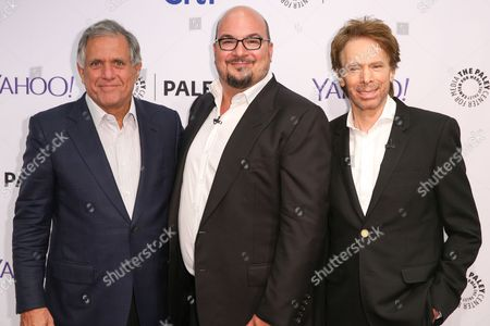 Les Moonves, from left, Anthony E. Zuiker and Jerry Bruckheimer arrive at the 2015 PaleyFest Fall TV Previews at The Paley Center for Media, in Beverly Hills, Calif