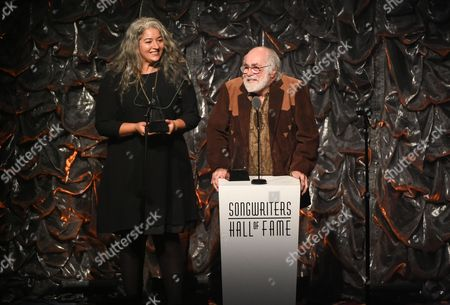 Honoree Robert Hunter and Trixie Garcia accepting the award for her father Jerry Garcia at the 46th Annual Songwriters Hall Of Fame Induction and Awards Gala at the Marriott Marquis, in New York