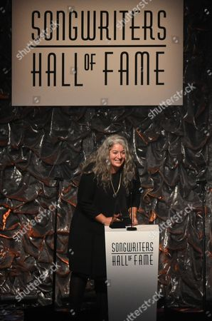 Trixie Garcia accepting the award for her father Jerry Garcia at the 46th Annual Songwriters Hall Of Fame Induction and Awards Gala at the Marriott Marquis, in New York