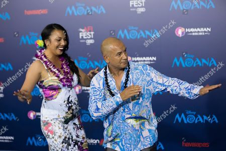 """Actor Temuera Morrison, right, arrives at the 2016 AFI Fest - """"Moana"""" World Premiere at El Capitan Theatre, in Los Angeles"""