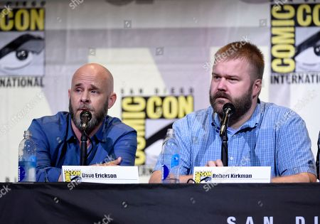 """Dave Erickson, left, and Robert Kirkman attend the """"Fear the Walking Dead"""" panel on day 2 of Comic-Con International, in San Diego"""