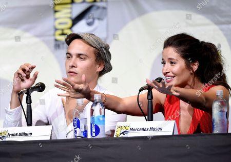 "Frank Dillane, left, and Mercedes Mason attend the ""Fear the Walking Dead"" panel on day 2 of Comic-Con International, in San Diego"