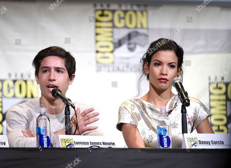 """Lorenzo James Henrie, left, and Danay Garcia attend the """"Fear the Walking Dead"""" panel on day 2 of Comic-Con International, in San Diego"""