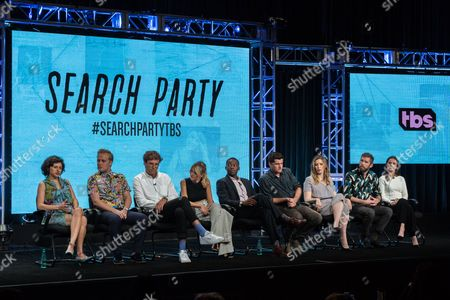 "Alia Shawkat, from left, John Early, John Reynolds, Meredith Hagner, Brandon Micheal Hall, Michael Showalter, Sarah-Violet Bliss, Charles Rogers, and Lily Burns participate in the TBS ""Search Party"" panel during the Turner Networks TV Television Critics Association summer press tour, in Beverly Hills, Calif"