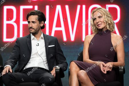 """Juan Diego Botto, left, and Lusia Strus participate in the TNT """"Good Behavior"""" panel during the Turner Networks TV Television Critics Association summer press tour, in Beverly Hills, Calif"""