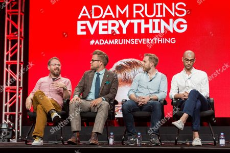 """Stock Image of Sam Reich, from left, Adam Conover, Travis Helwig, and Jon Wolf participate in the Tru TV """"Adam Ruins Everything"""" panel during the Turner Networks TV Television Critics Association summer press tour, in Beverly Hills, Calif"""