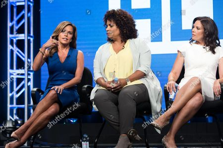Robin Meade, from left, Michaela Pereira, and Erica Hill participate in the HLN panel during the Turner Networks TV Television Critics Association summer press tour, in Beverly Hills, Calif