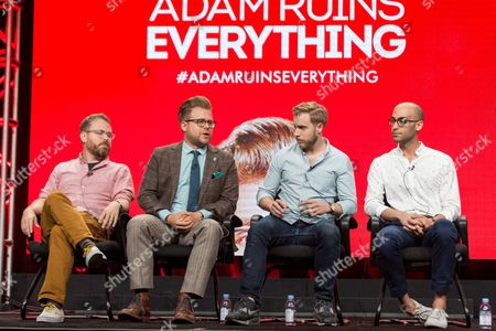 """Stock Picture of Sam Reich, from left, Adam Conover, Travis Helwig, and Jon Wolf participate in the Tru TV """"Adam Ruins Everything"""" panel during the Turner Networks TV Television Critics Association summer press tour, in Beverly Hills, Calif"""