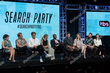 "Alia Shawkat, from left, John Early, John Reynolds, Meredith Hagner, Brandon Micheal Hall, Michael Showalter, Sarah-Violet Bliss, Charles Rogers, and Lily Burns participate in the TBS ""Search Party"" panel during the Turner Networks TV Television Critics Association summer press tour in Beverly Hills, Calif"