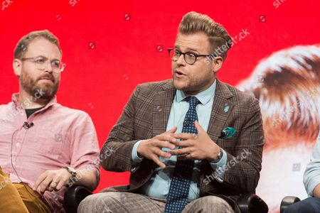 """Sam Reich, left, and Adam Conover participate in the Tru TV """"Adam Ruins Everything"""" panel during the Turner Networks TV Television Critics Association summer press tour, in Beverly Hills, Calif"""