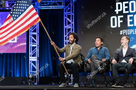 """Wyatt Cenac, from left, Oscar Nunez, and David Jenkins participate in the """"People on Earth"""" panel during the Turner Networks TV Television Critics Association summer press tour, in Beverly Hills, Calif"""