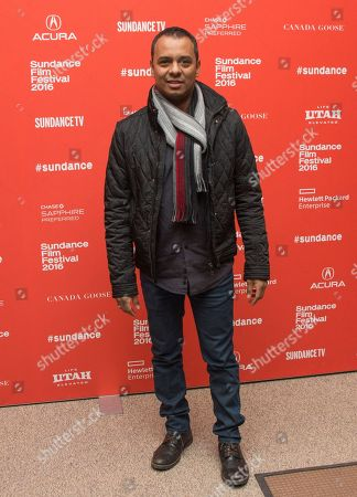 "Actor Carlos Moreno Jr. poses at the premiere of ""Frank & Lola"" during the 2016 Sundance Film Festival, in Park City, Utah"