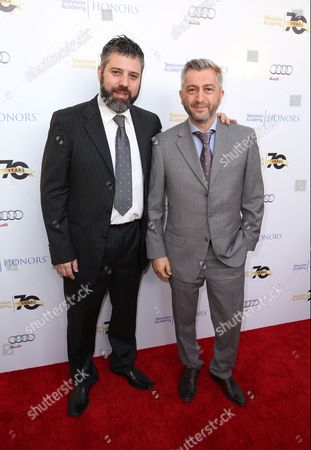 Evgeny Afineevsky, left, and Den Tolmor arrive at the 2016 Television Academy Honors at The Montage Hotel, in Beverly Hills, Calif