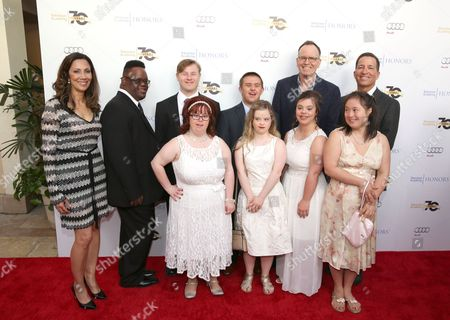 Lucia Gervino,Television Academy Honors Chair, from left, John Tucker, Steven Clark, Rachel Osterbach, Sean McElwee, Megan Bombaars, Jonathan Murray, Cristina Sanz, Elena Ashmore, and Bruce Rosenblum, Television Academy Chairman & CEO arrive at the 2016 Television Academy Honors at The Montage Hotel, in Beverly Hills, Calif