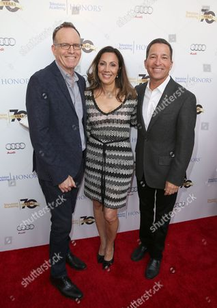 Jonathan Murray, from left, Lucia Gervino,Television Academy Honors Chair, and Bruce Rosenblum, Television Academy Chairman & CEO arrive at the 2016 Television Academy Honors at The Montage Hotel, in Beverly Hills, Calif