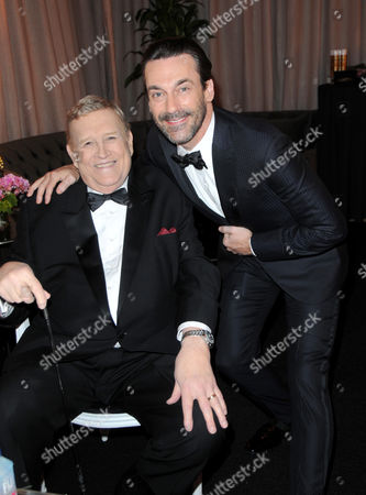 Ken Howard, left, and Jon Hamm pose in the green room at the 22nd annual Screen Actors Guild Awards at the Shrine Auditorium & Expo Hall, in Los Angeles