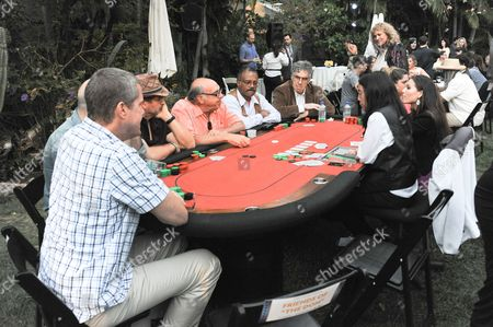 Stock Photo of Elliot Gould, center, andTed Lange attend the 3rd Annual SAG Foundation Poker Classic on Saturday, Aug. 24 in Los Angeles