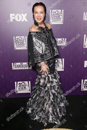 Sue Wong arrives at the Fox Searchlight Golden Globes afterparty at the Beverly Hilton Hotel, in Beverly Hills, Calif