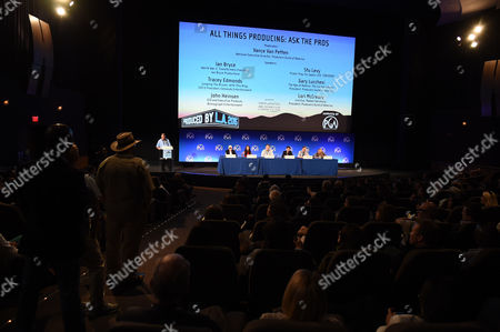 From left, Vance Van Petten, Ian Bryce, Tracey Edmonds, John Heinsen, Stu Levy, Gary Lucchesi and Lori McCreary take questions from the audience at the 7th Annual Produced By Conference presented by Producers Guild of America at Paramount Pictures Studios on in Los Angeles