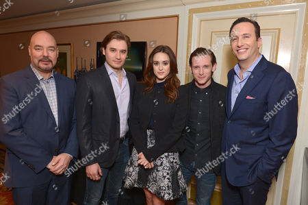 From left, Joel Stillerman, executive vice president of original programming, production and digital content, AMC, Seth Numrich, Heather Lind, Jamie Bell and AMC president Charlie Collier attend the AMC Winter Press Tour,, in Pasadena, Calif