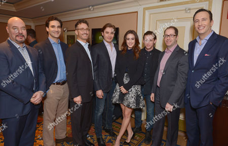 From left, Joel Stillerman, executive vice president of original programming, production and digital content, AMC, Alexander Rose, Barry Josephson, Seth Numrich, Heather Lind, Jamie Bell, Craig Silverstein and AMC president Charlie Collier attend the AMC Winter Press Tour,, in Pasadena, Calif
