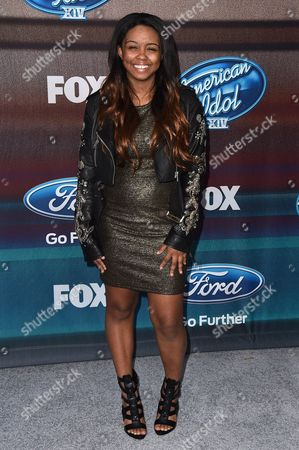"""Sarina-Joi Crowe arrives at the """"American Idol XIV"""" finalists party at The District by Hannah An on Wednesday, Mar. 11th in Los Angeles"""