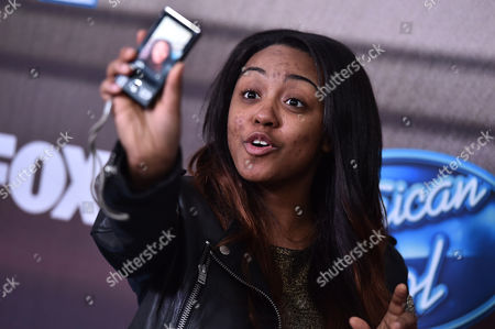 """Stock Photo of Sarina-Joi Crowe arrives at the """"American Idol XIV"""" finalists party at The District by Hannah An on Wednesday, Mar. 11th in Los Angeles"""